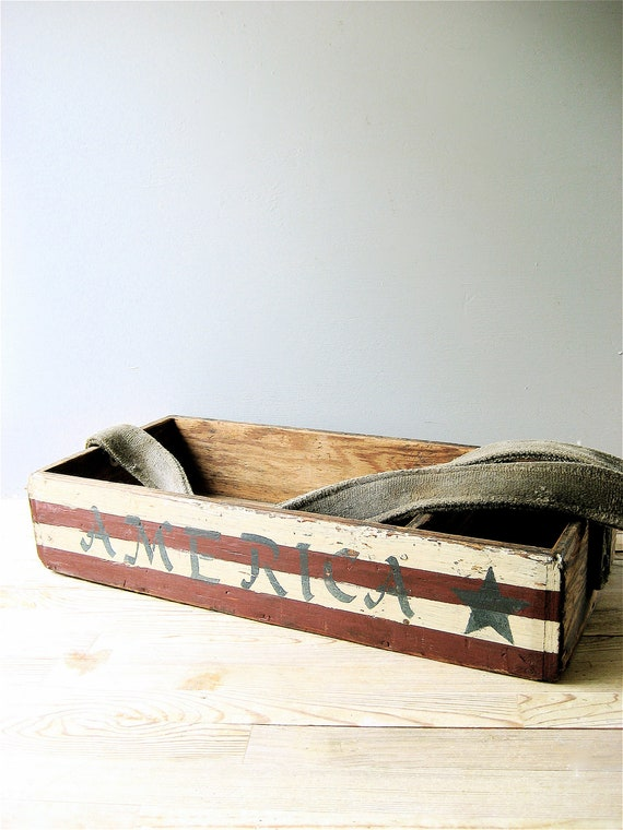 Vintage Wooden Box with Strap