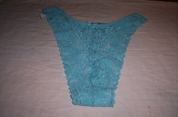 vintage ladies underwear blue lace thong large