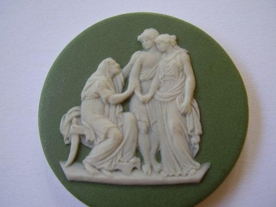 Antique British 18th 19th Century Georgian Wedgwood Japerware Jasper Ware Sage Green Cameo Medallion Plaque Coriolanus