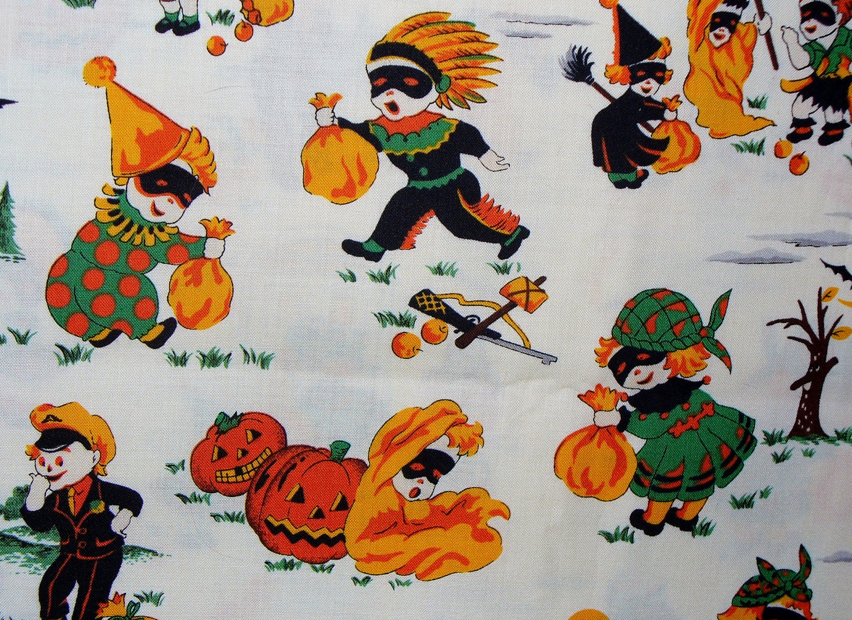 Halloween fabric retro kids style 2 yards kids trick for Retro kids fabric