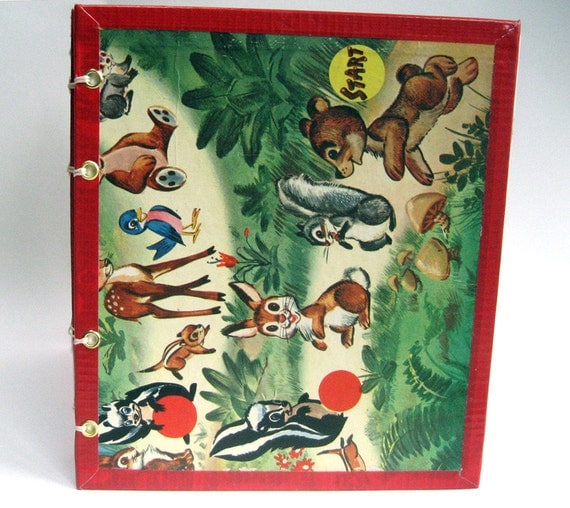 Blank Book Upcycled from Vintage 1950s Forest Friends Board Game, Hand Bound, Coptic-stitched, with 112 Unruled Pages