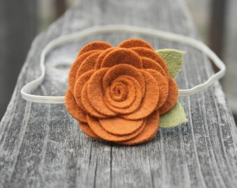 Felt Flower Headband for baby - Pumpkin Flower Headband - newborn headband, infant, toddler, tween, teen, adult headband - Fall Photo Prop
