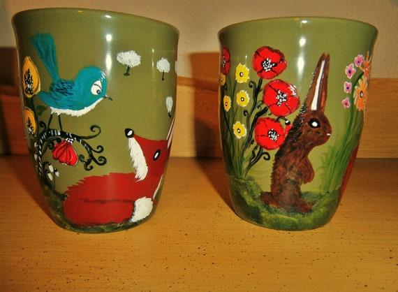 Red Fox Mugs - flower garden handpainted set of 2 coffee cups