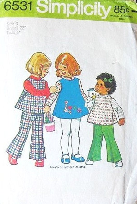 Toddler Girl's Smock Top, Dress, Bell Bottom Pants, Love Applique Transfer - Vintage 1970s Simplicity Sewing Pattern 6531 - Size 3 Chest 22