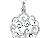 1/4CT Vintage Diamond Pendant Antique Style 14K White Gold