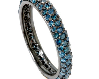 1.10CT Blue Diamond Pave Eternity Wedding Anniversary Stackable Ring Guard band 14K Black Gold Size 4-9