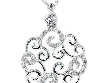 1/4CT Vintage Diamond Pendant Antique Style 14K White Gold