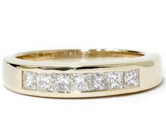Princess Cut Channel Set Womens Diamond Wedding RingG VS .55CT Princess Cut Channel Set 14K Yellow Gold Womens Diamond Wedding Ring