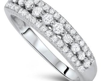 Diamond Wedding Ring, Stackable Diamond Ring White Gold 1/4CT Diamond Wedding Ring 10K White Gold Womens Wedding Anniversary Band Womens