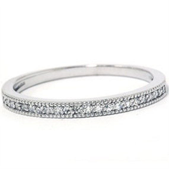 Vintage Diamond Wedding Anniversary 14K White Gold Stackable Guard Band 1/4CT Size (4-9)