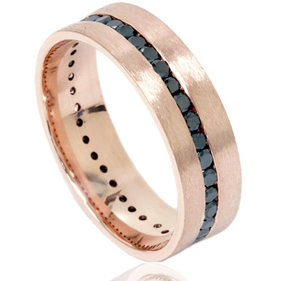 Rose Gold 1.50CT Black Diamond Channel Set 8MM Brushed Wedding Ring Band Mens Size (7-12)