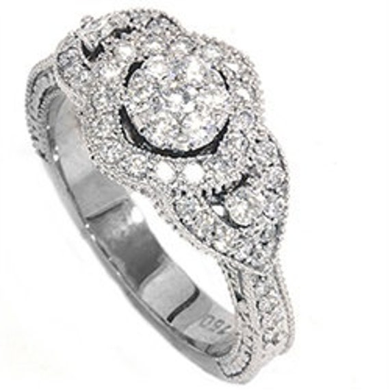 Vintage Diamond Engagement Hand Engraved Antique Art Deco 3 Stone Style Anniversary Ring 14K White Gold Size 4-9