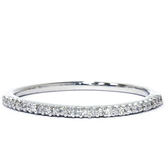Diamond Wedding Ring Anniversary Thin Pave Band 15CT White