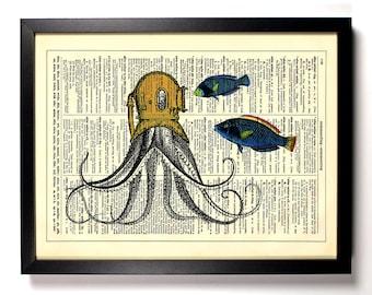 Deep Sea Octopus, Home, Kitchen, Nursery, Bath, Office Decor, Wedding Gift, Eco Friendly Book Art, Vintage Dictionary Print 8 x 10 in.