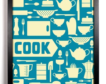 COOK Kitchen Print, Home, Kitchen, Nursery, Bathroom, Dorm, Office Decor, Wedding Gift, Housewarming Gift, Unique Holiday Gift, Wall Poster