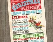 Vintage Christmas Invitation, Christmas Invite, Holiday Invitation, Christmas Cheer, Christmas Party, PRINTABLE, Digital, Holiday Invite