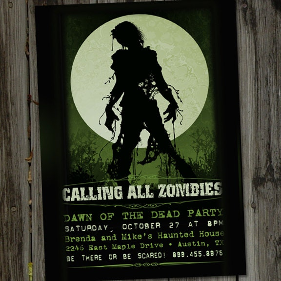 Zombie Party Invitations and get inspiration to create nice invitation ideas