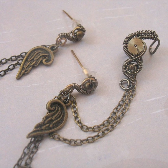 RESERVED FOR MONICA - Steampunk Ear Cuff With Chains And Stud Earrings