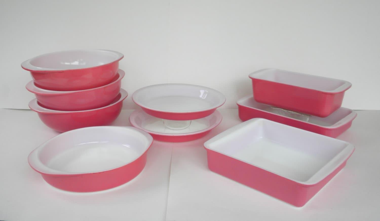 50s Flamingo Pink Pyrex 9 Piece Bakeware Group