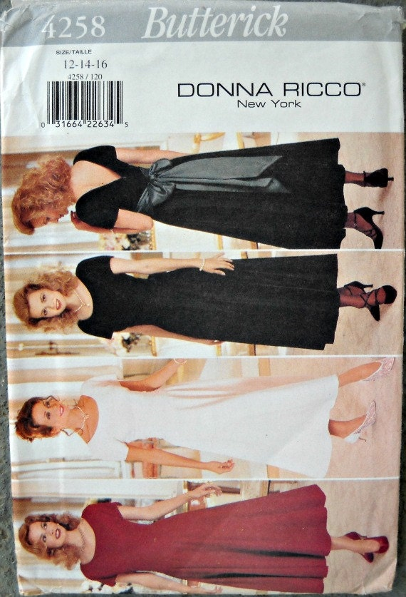 Butterick 4258, Donna Ricco New York, Misses Dress Pattern, Sizes 12, 14, 16