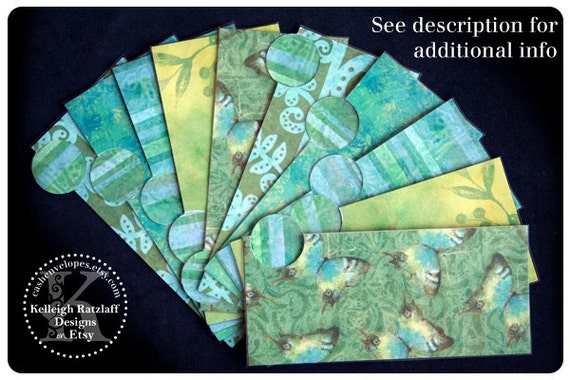 LAMINATED Cash Envelope System in Green Butterflies (10 envelopes)