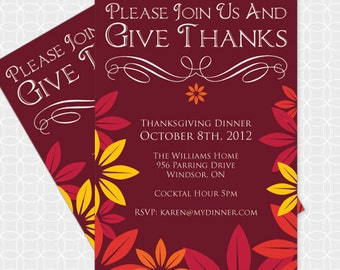 Party Printable DIY Thanksgiving Themed  Invitation - Personalized Printable