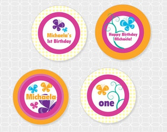 Party Printable Butterfly Party Theme Birthday Circles - Personalized Printable