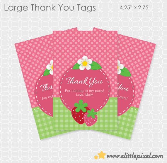 Strawberry Party Thank You Tags - Personalized Printable
