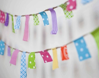 Scrappy Banner/ Summer Garland/ Party Banner / Photo Prop in Blue, Green, Pink, Yellow, Orange and Purple