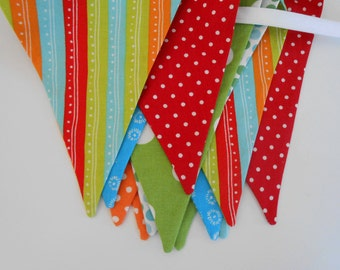 Stripes and Dots Fabric Banner in Red, Orange, Blue, and Green/ Party Banner/ Photo Prop/ Great Circus or Carnival Theme