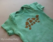 Green Turtle Onesie - Hand Dyed & Painted