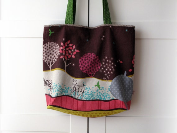 Large bag tote, shoulder bag. Echino fabric by Etsuko Furuya design. Linen and cotton blend. Ready to ship.