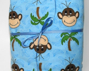 Monkey Flannel Fitted Sheet for Baby Crib Sheet or Toddler Bed Sheet Monkeys and Palm Trees