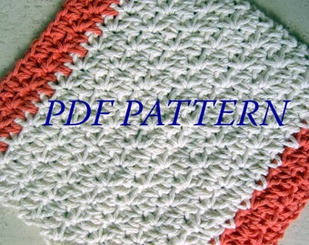 PDF PATTERN - Two Toned Crochet Dishcloth / Washcloth -- Free Shipping - Instant Download