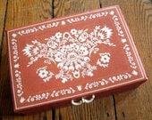 "Mid Century Art Nouveau Jewelry Box 10"" x 7.25"""