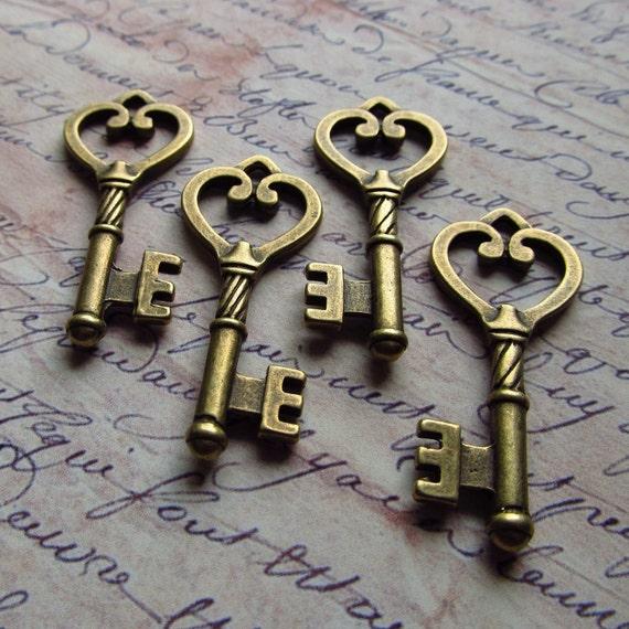 Foix Antique Brass/Bronze Skeleton Key - Set of 4