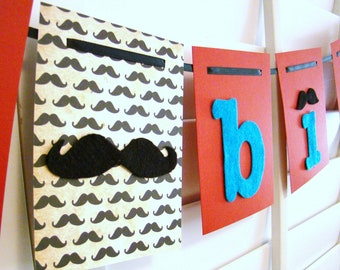 Mustache Birthday Banner : Red and Turquoise Felt Birthday Cardstock Garland Banner  FREE SHIPPING