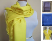 Deep Yellow Pashmina Scarf, pashmina Shawl, pashmina Wrap, monogram scarf, bridesmaid shawl, pashmina in handmade