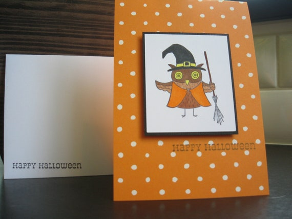 Halloween Card Owl Witch Halloween Owl Orange