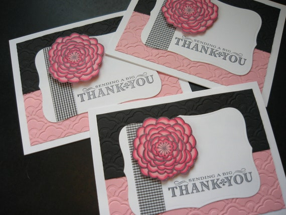 Handmade Thank You Note Cards Pink and Black Floral Set of 3