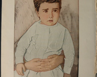 1916 color MEDICAL CHART from antique medical book - scald head, eczema