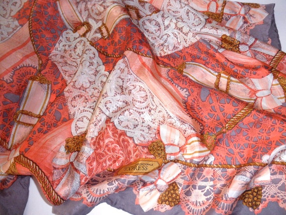 large vintage Express silk scarf - hand rolled, lace, peach, gray, bows, ribbon