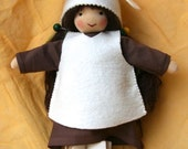 Root Child Girl loves snowdrop  Waldorf  Doll  9,4 ""