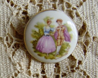 French Limoges Vintage Victorian Courtship Pin