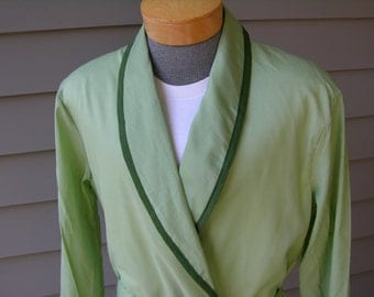 vintage 1960's 'McKenzie Imperial' Men's Bath Robe. 'New Old Stock'. Spearmint Green. Large. Made in Tennessee - USA