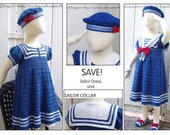 2in1 - Sailor Crochet Dress Pattern included the Collar Pattern. Special price for both - Instant Download Pdfs