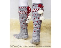 Norwegian Knee-high winter socks with lice-pattern and tassels - Crochet Pattern - Instant Download Pdf