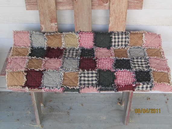 FALL SALE Primitive homespun rag quilt