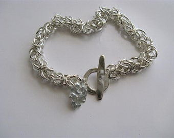 Unisex Rustic Chainmaille Bracelet in Sterling Silver - Handmade Roman Style Bracelet - By Amallias