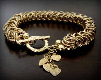 Stunning   Handmade Chainmaille  Bracelet in 14k Gold Filled. Ready to Ship by Amallias
